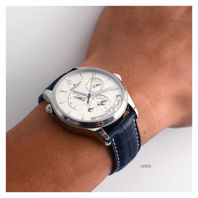 Feu de vos Dual Time - GMT - Worldtimer Jaeger_lecoultre_master_geographic_blue_alligator